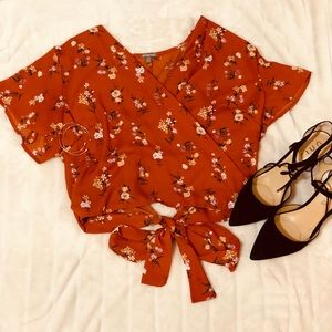 Orange, floral crop top with bow